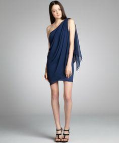 Wyatt navy chiffon 'Alice' one shoulder dress   BLUEFLY up to 70% off designer brands