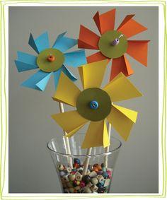 flower-pinwheels2.jpg  Tutorial for paper flower pinwheels.  Great DIY paper craft for kids.   Easter holiday decoration idea.