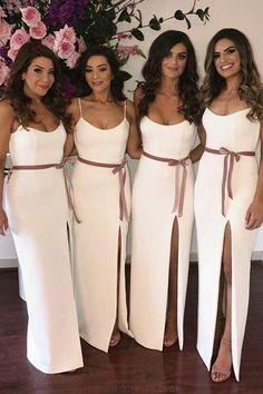 A line Spaghetti Straps Slit Bridesmaid Dresses