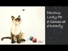 Today I'm going to paint a Siamese cat which is looking at a Butterfly. I think the distinctive feature of the cat is its color contrast. Watercolor Art Diy, Watercolor Animals, Watercolor Illustration, Watercolor Paintings, Watercolors, Bengal Kitten, Siamese Cats, Peony Drawing, Christmas Leaves