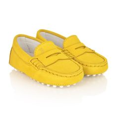 Tods Yellow Suede Moccasins