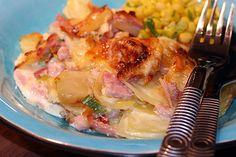 Potatis- och purjolöksgratäng med skinka - Kryddburken