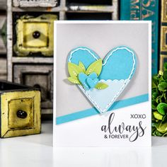 Spellbinders   Always & Forever Card using S3-281 Die D-Lites Hearts Etched Dies. Project by Yana Smakula