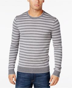 Michael Kors Men's Stripe Merino Wool Sweater - Sweaters - Men - Macy's