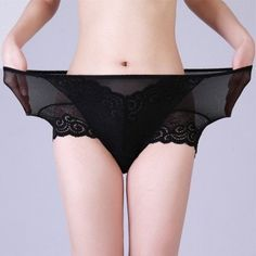 L-4XL Women Sexy Lace Elastic Panties See Through Breathable Underwear