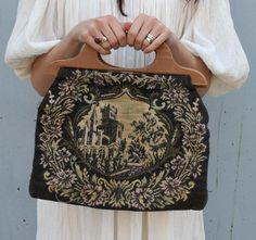 1940s Fairytale Castle Tapestry Knitting Bag Purse