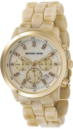 Michael Kors Watch , Michael Kors Women's MK5217 Oversized Horn Watch, Ivory Tone Plastic Link Quartz Chronograph Gold Tone Mother Of Pearl...$160.00