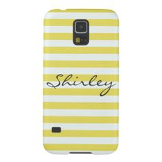 Pale Gold And White Stripes Personalized Cases For Galaxy S5