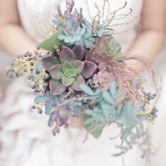 green succulent bouquet - love all the texture!