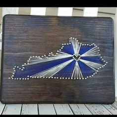 """State String Art featuring the University of Kentucky 8.5""""x11"""" Customize one for your favorite team!"""