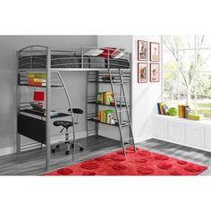 DHP Studio Twin Loft Bed with Integrated Desk and Shelves, Silver - Walmart.com