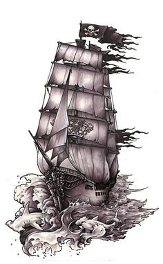 Pirate ship tattoo semper ad meliora