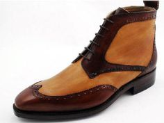2 tone wing derby boots