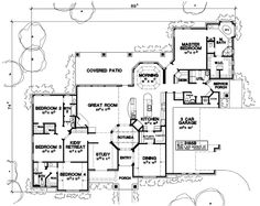 European Style House Plan - 4 Beds 3.5 Baths 3197 Sq/Ft Plan #472-17 Main Floor Plan - Houseplans.com