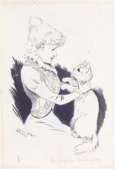 two, both signed, one titled, the other inscribed with a poem, ink and wash, both unframed By Louis Wain