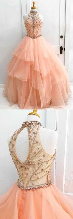 Charming High Neck Ruffle Beading Ball Gown Long Formal Prom Dress #beading #ballgown #prom #ruffle #formal #long