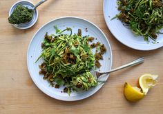 zucchini noodles with kale pesto and curry burger crumbles — Crunchy Radish
