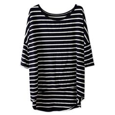 Dark Blue White Striped Batwing Sleeve Oversized Tee (57 BRL) ❤ liked on Polyvore featuring tops, t-shirts, shirts, blue white striped shirt, stripe shirt, over sized t shirt, oversized t shirt and blue and white stripe shirt