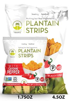 Certified Paleo and PaleoVegan Artisan Tropic Plantain Strips with Cayenne Pepper Snack Recipes, Snacks, Cayenne Peppers, Paleo, Artisan, Chips, Tropical, Gluten Free, Stuffed Peppers