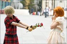 Hiro and Kisa (Fruits Basket) Fruits Basket Cosplay, Photography Series, Tulle, Flower Girl Dresses, Deviantart, Costumes, Wedding Dresses, Fun, Anime