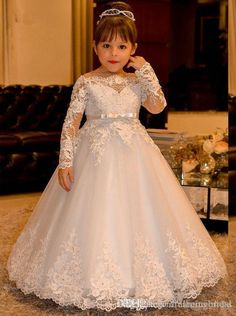 Cheap communion dresses, Buy Quality flower girl dresses directly from China holy communion dresses Suppliers: Elegant Princess Flower Girls Dresses for Weddings Lace Long Sleeve Boat Neck Vintage Girl Pageant Gowns Holy Communion Dress Princess Flower Girl Dresses, Lace Flower Girls, Little Girl Dresses, Lace Flowers, Kids Pageant Dresses, Wedding Dresses For Kids, Girls Dresses, Pageant Gowns, Wedding Gowns