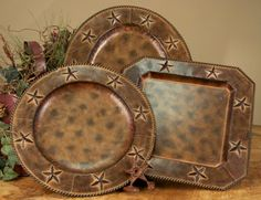 Set of 4 rustic metal western star charger plates to compliment your western dinnerware. Add one of the many styles of faux leather placemats or table ... & M Western Products® Rustic Ranch 4-Piece Dinner Plate Set | Home ...