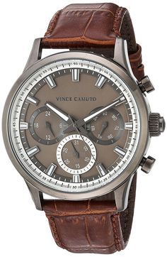 Vince Camuto Men's VC/1089DGDG Multi-Function Dial Brown Croco-Grain Leather Strap Watch >>> Find out more about the great product at the image link.