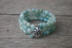 Amazonite Memory Wire Bracelet, Amazonite Jewelry, Beach Bracelet, Beach Jewelry, Seashell Charm Bracelet by ApricotSkyJewelry on Etsy https://www.etsy.com/listing/196333018/amazonite-memory-wire-bracelet-amazonite