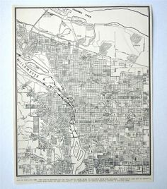 1937 Antique City Map of Portland, Oregon