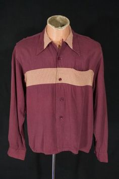 Vtg-40s-50s-Two-Tone-Collar-Loop-Rayon-Cotton-Shirt-Mens-sz-M-Rockabilly