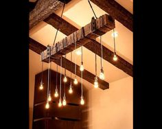 7 foot Reclaimed Wood beam Chandelier di UniqueWoodIron su Etsy