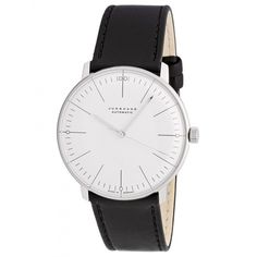 This modern style Max Bill Automatic Watch features a self-winding movement, luminous hands, and a polished white face.
