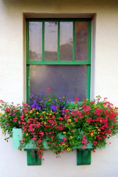 I think a colorful window box like this would be perfect for the balcony