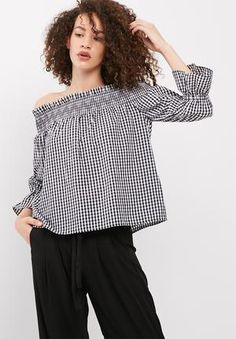01887c68e270 Vero Moda Lina Off Shoulder Gingham Top Blouses Black & White Black Blouse,  Gingham,