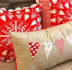 cushion with  hearts.