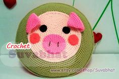 Crochet Pig Cushions Crochet Pig Pillow by Suvabhat on Etsy, $50.00