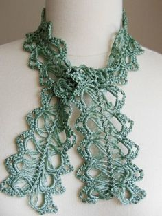 hairpin lace crochet scarflette scarf cotton viscose, DIY, free patter, handmade, gift, easy