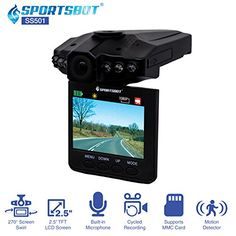 """SportsBot SS501 120 Degree Wide Angle Car Dash Camera Video DVR Recorder w/ 2.5"""" TFT LCD Screen Built-In Microphone Motion Detector 6 InfraRed LED for Night Vision & Multi-Language-BLK"""
