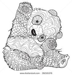 Hand drawn Coloring pages with panda, illustration for adult anti stress Coloring books with high details isolated on white background. Vector monochrome sketch - stock vector