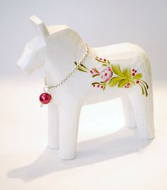 white Swedish Dala horse