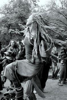 Hippies dancing