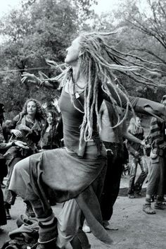 Hippies dancing