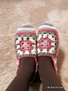 Ravelry: shink's Slippers with stripes and rose