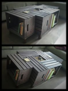 wine crate coffee table, I want to do this for the game room