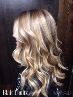 multi color blonde, platinum, blonde, long hair, medium hair, curly hair, loose curls, smooth curls, highlights, lowlights, shadow