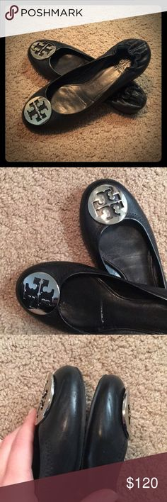 """""""Tory Burch"""" Flats Reva - Black Leather Silver Logo Medallion. 100% Authentic. Great/minimally worn condition with some scratches on the inside on each big toe (as shown in pictures). I didn't even realize these scratches were there until looking very closely. Can not tell they are there when wearing them. Tory Burch Shoes Flats & Loafers"""