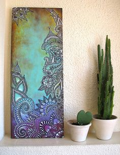 Beautiful pic on canvas. Saving for late ideas Mandala Art, Mandala Painting, Dot Painting, Painting & Drawing, Mandala Canvas, Painting Canvas, Henna Art, Doodle Art, Painting Inspiration