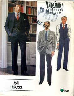 Vogue 2585 Mens Designer Bill Blass Suit Jacket Vest Pants Size 42 Uncut Vintage Sewing Pattern 1980s. $20.00, via Etsy.