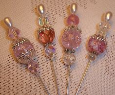 Pearl and Pink Crystal  Bead Hat Pin ♥ by JandKKreations on Etsy, $12.50