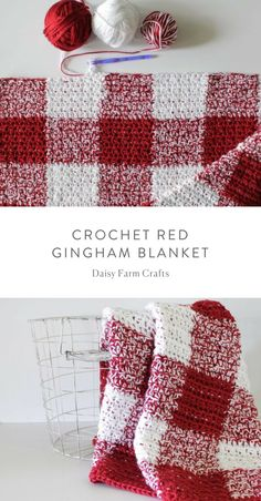 Crochet Afghans Patterns Free Pattern - Crochet Red Gingham Blanket - I am in love again with another crochet gingham blanket! I used a different technique to achieve this crochet red gingham blanket since I've had a hard time Crochet Afghans, Crochet Motifs, Knit Or Crochet, Crochet Crafts, Crochet Hooks, Blanket Crochet, Crochet Ideas, Christmas Crochet Blanket, Easy Crochet Blanket Patterns